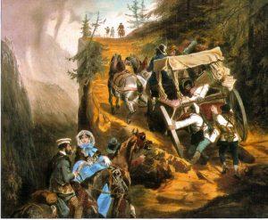 """Tableau Eugène Guérard. """"la poste de Sallanches à Chamonix"""" année 1850 - Copyright RMN (Réunion des musées nationaux)"""